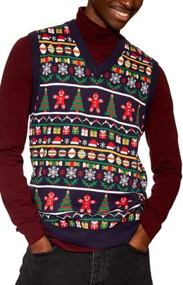 Topman Christmas Fair Isle Sweater Vest