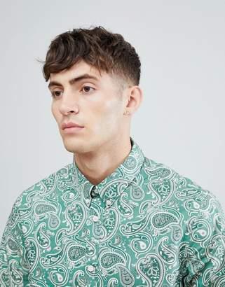 Pretty Green slim fit tonal paisley shirt in green