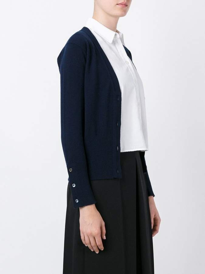Thom Browne Classic V-Neck Cardigan with 4-Bar Stripe in Navy Cashmere
