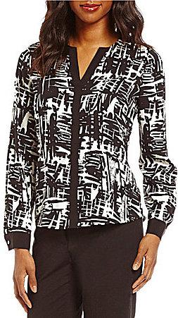 Calvin KleinCalvin Klein Contrast Trim Abstract Print Split V-Neck Long Sleeve Blouse