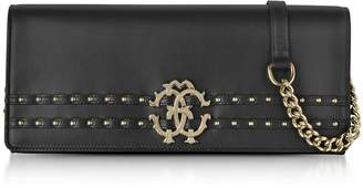 Roberto Cavalli Black Leather Clutch W/chain Shoulder Strap And Studs