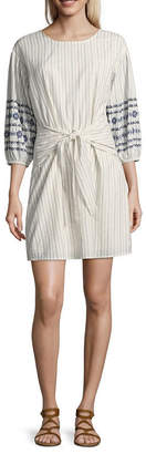 A.N.A Tie Waist Embroidered 3/4 Sleeve Shirt Dress