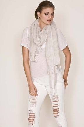 Love Quotes Metallic Lurex Knotted Linen Fringe Scarf in Peace