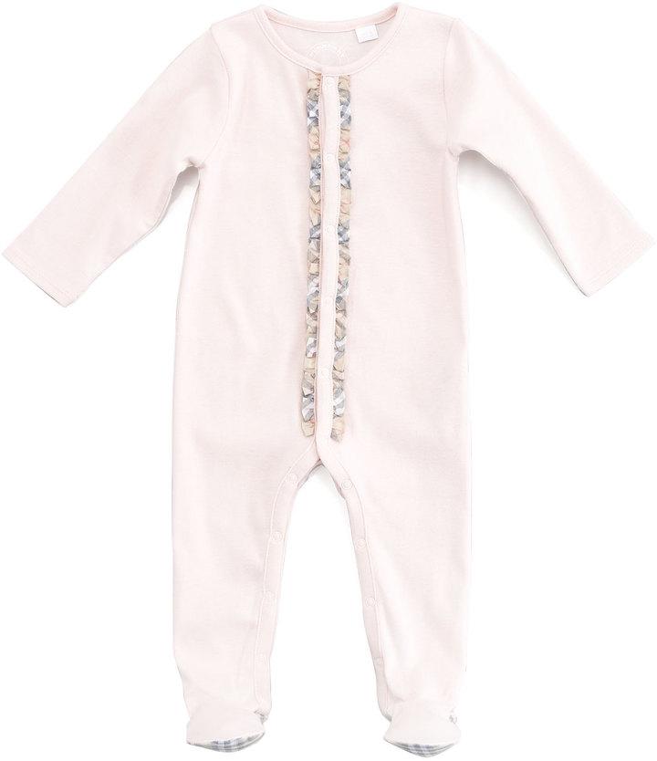 Burberry Elva Jersey Check-Trim Sleepsuit