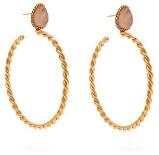 Sylvia Toledano - Quartz Embellished Twisted Hoop Earrings - Womens - Pink