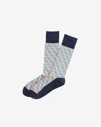 Express Solid Heel Geometric Dress Socks