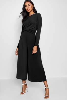 boohoo Knot Front Culotte Jumpsuit
