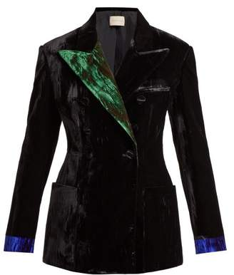 Christopher Kane Contrast Lapel Double Breasted Velvet Blazer - Womens - Black
