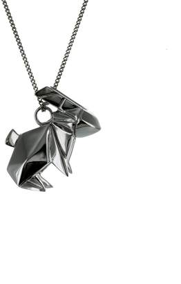 Origami Jewellery Necklace Rabbit Gun Metal