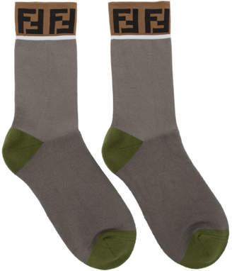 Fendi Grey and Green Forever Socks