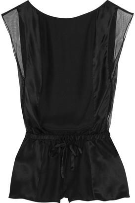 Calvin Klein Underwear - Tulle-trimmed Silk-satin Playsuit - Black $165 thestylecure.com