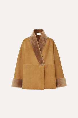 The Row Pernia Shearling-trimmed Suede Coat - Brown