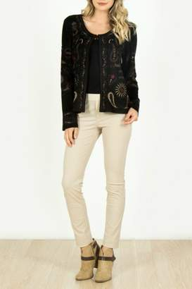 Monoreno Embroidered Faux-Suede Cardigan