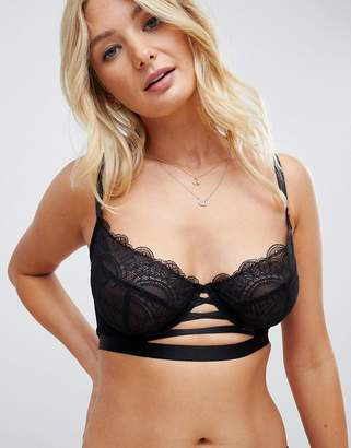 Wolfwhistle Wolf & Whistle lace up front longline bra in black