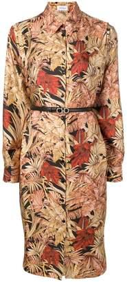 Salvatore Ferragamo foliage print shirt dress