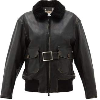 Golden Goose Erika Distressed Belted Leather Jacket - Womens - Brown