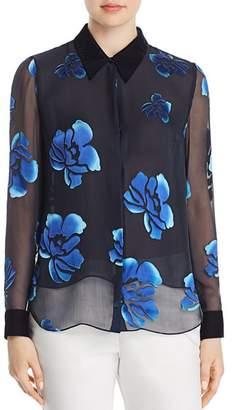Elie Tahari Martha Burnout Floral Blouse