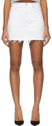 A Gold E Agolde White Denim Quinn Hi Rise Miniskirt