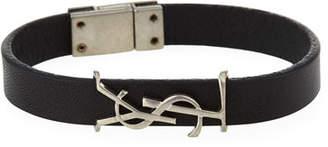 Saint Laurent Leather Monogram Bracelet, Black/Silver