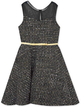 Rare Editions Toddler Girls Illusion-Neck Fit & Flare Dress