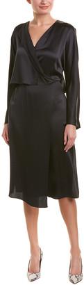 Vince Draped Panel Silk Faux Wrap Dress