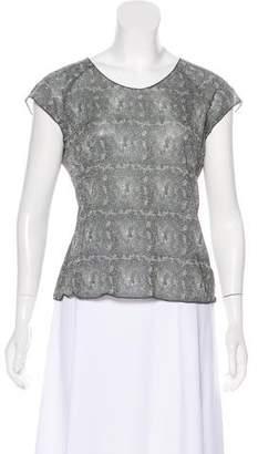 Armani Collezioni Printed Metallic Short Sleeve Top