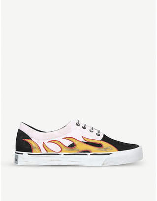 Palm Angels Flame-appliqué distressed canvas and suede trainers