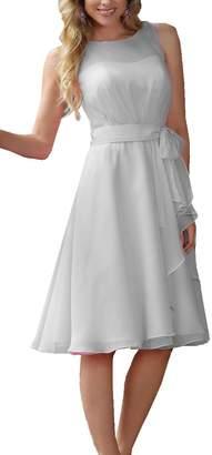 OkayBridal Women's Sleevless Short Bridesmaid Dresses Knee Length Chiffon Dresses Size US