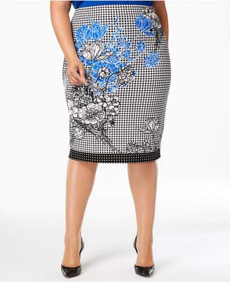 ECI Plus Size Mixed-Print Pencil Skirt