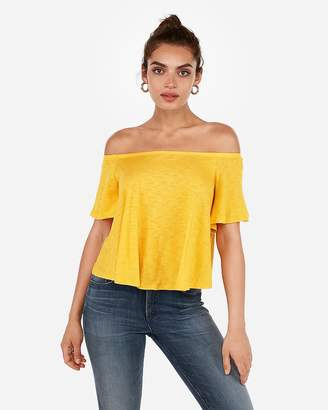 Express One Eleven Slub Off The Shoulder Relaxed Tee
