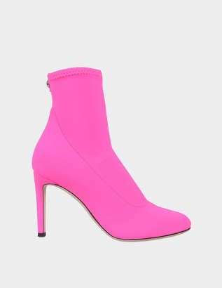 Giuseppe Zanotti Stretch Booties in Neon Pink Carlito Stretch Fabric
