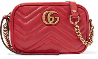 Gucci Gg Marmont Camera Mini Quilted Leather Shoulder Bag - Red
