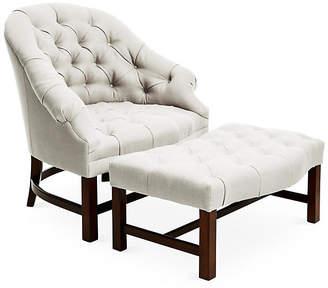 Bunny Williams Home Tufted Chair & Ottoman Set - Natural/Java