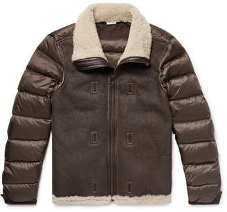Ten C Grosgrain-Trimmed Shearling And Quilted Nylon Down Jacket Liner