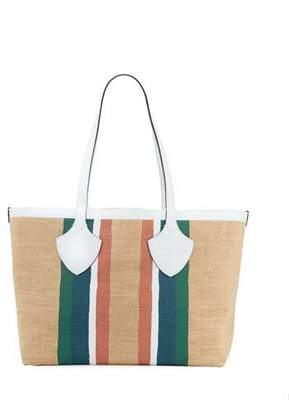Burberry Jute Medium Striped Tote Bag
