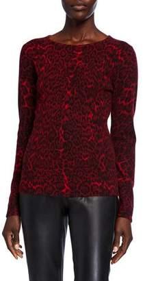 Neiman Marcus Leopard-Print Crewneck Cashmere Sweater