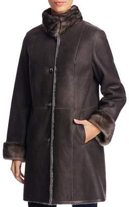 Maximilian Furs Mink Fur Collar Lamb Shearling Coat