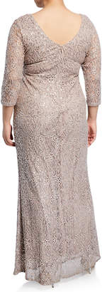 Marina Long Sequined Embroidered Gown