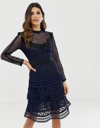 Y.A.S laser cut lace tiered mini dress