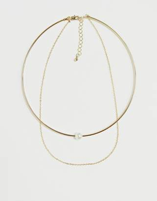 Pieces pearl choker with chain
