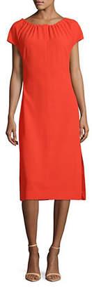 Diane von Furstenberg Short Sleeve Pintucked Satin Dress