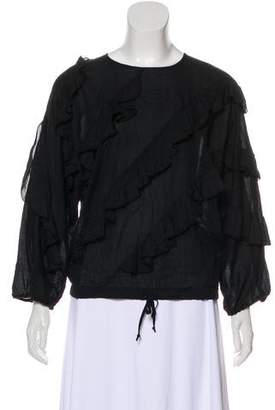 Hache Ruffle-Accented Long Sleeve Top