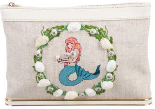 Charlotte Olympia Charlotte Olympia Embroidered Canvas Clutch