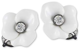 Kenneth Jay Lane Resin Flower With Leaf -Clip Earring
