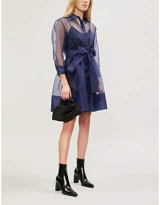 Maje Revani sheer full-skirt crepe dress
