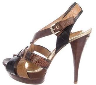 MICHAEL Michael Kors Embossed Leather Slingback Sandals