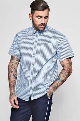 boohoo Contrast Stripe Short Sleeve Oversized Shirt