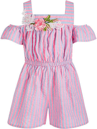 Bonnie Jean Little Girls Striped Chambray Cold-Shoulder Romper