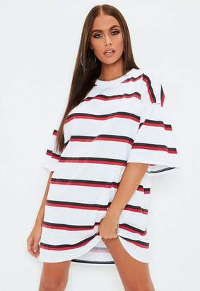 Missguided White Oversized Double Stripe T Shirt Dress