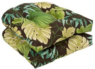 Pillow Perfect Indoor/Outdoor Brown/Green Tropical Wicker Seat Cushions